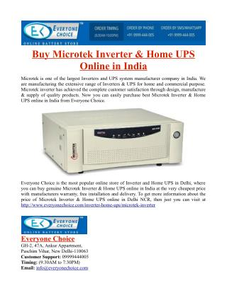 Buy Microtek Inverter & Home UPS Online in India