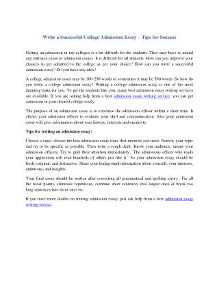 Write a Successful College Admission Essay- Tips for success