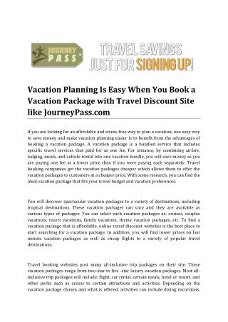 Vacation Planning Is Easy with Travel Discount Site like JourneyPass.com
