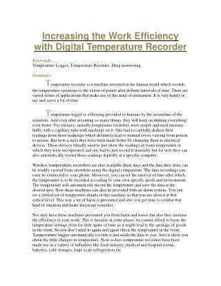 Increasing the Work Efficiency with Digital Temperature Recorder