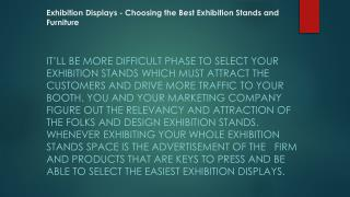 Exhibition Displays - Choosing the Best Exhibition Stands and Furniture