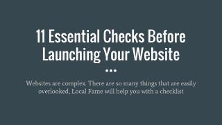 11 Essential Checks Before Launching Your Website