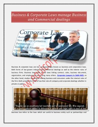 Business & Corporate Laws manage Business and Commercial dealings
