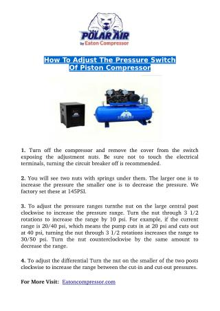 How to Adjust The Pressure Switch Of Piston Compressor