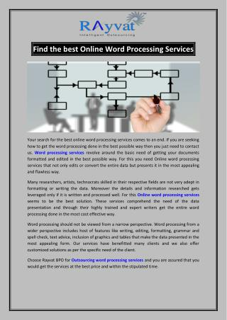 Find the best Online Word Processing Services