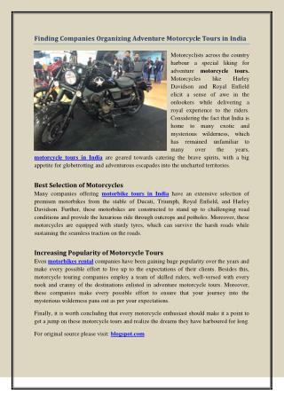 Finding Companies Organizing Adventure Motorcycle Tours in India
