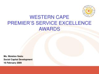 WESTERN CAPE PREMIER'S SERVICE EXCELLENCE AWARDS