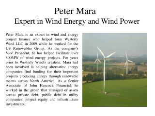 Peter Mara Expert in Wind Energy and Wind Power