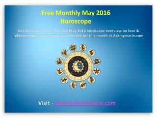 Free Monthly May 2016 Horoscope for All Zodiac Signs
