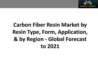 Carbon Fiber Resin Market worth 532.7 Million USD by 2021