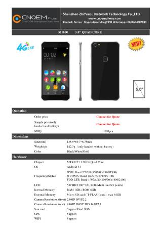 M1600 5.5 inch 4G OEM Smartphone from China Manufacturers