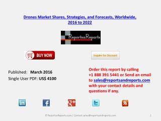 Drone Aerial Systems Market Forecasts Dollars, Worldwide, 2016 – 2022