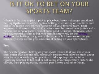 Is it Ok to Bet on Your Sports Team?