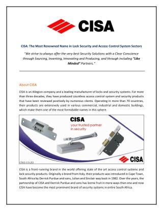 CISA - The Leading Brand in The Lock Security and Access Control System