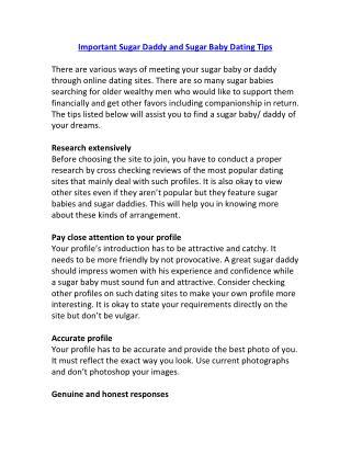 Important Sugar Daddy and Sugar Baby Dating Tips