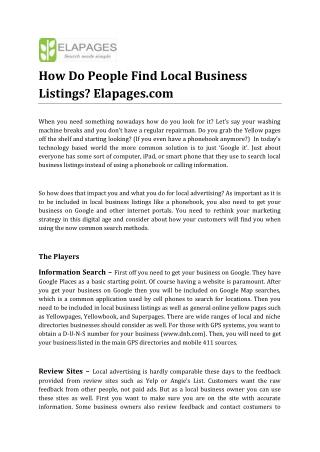 How Do People Find Local Business Listings, Elapages.com