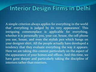 Interior Design Firms in Delhi