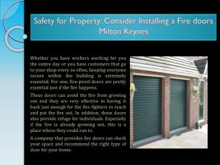 Safety for Property: Consider Installing a Fire doors Milton Keynes