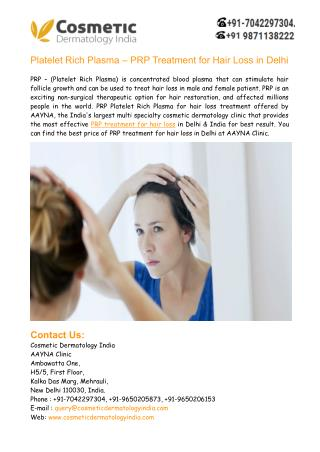 PRP Treatment for Hair Loss in Delhi