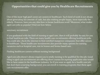 Opportunities that could give you by Healthcare Recruitments