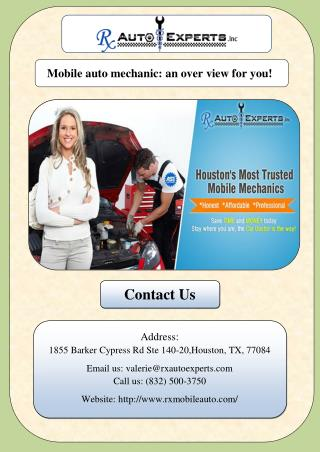 Mobile auto mechanic: an over view for you!