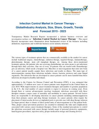 Infection Control Market in Cancer Therapy: Medical Management, Recent Developments, and Future Challenges