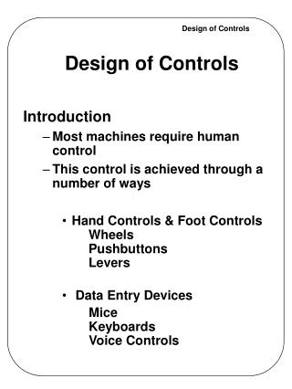 Design of Controls