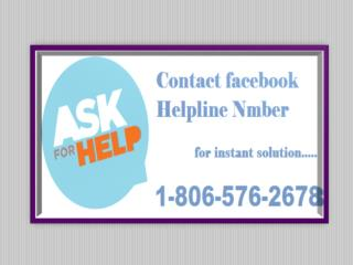 Get Expert Advice Related Facebook Account, Dial Facebook help 1-806-576-2678