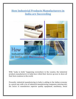How Industrial Products Manufacturers in India are Succeeding?