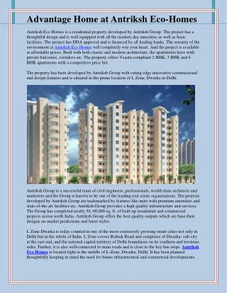 Advantage Home at Antriksh Eco-Homes