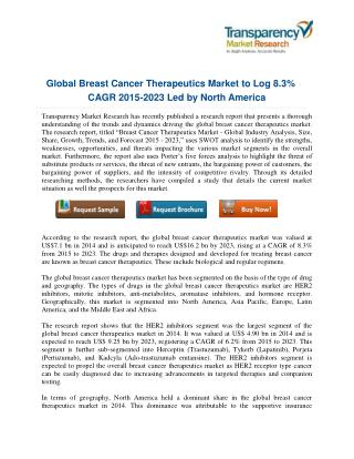 Breast Cancer Therapeutics in Major Developed Market to 2021: Transparency Market Research
