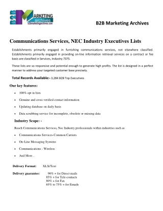 Communications Services, NEC Industry Email Lists