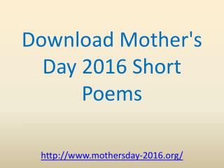download poems for mothers day