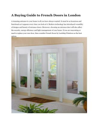 A Buying Guide to French Doors in London