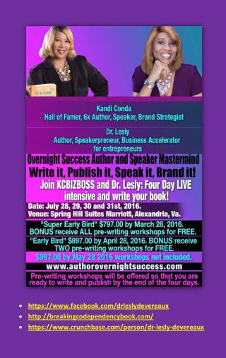 Join Lesly Devereaux and Kandy Conda - Four Day Live intensive and write your book!