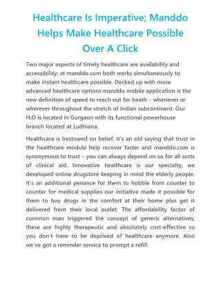 Healthcare Is Imperative; Manddo Helps Make Healthcare Possible Over A Click