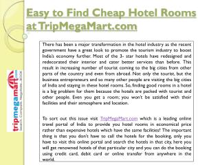 Easy to Find Cheap Hotel Rooms at TripMegaMart.com