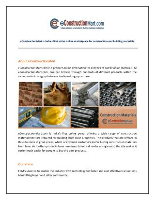 eConstruction Mart - India's Largest Marketplace for All Construction Materials