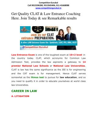 CLAT & Law Entrance Coaching Starts in Janakpuri, Uttam Nagarm New Delhi