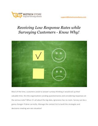 Receiving Low Response Rates while Surveying Customers - Know Why!