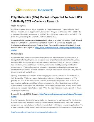 Global Polypthalamide Market to 2022 Growth Trends and Forecast,by Credence Research