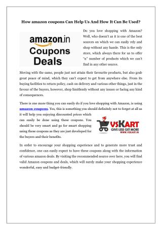 How amazon coupons Can Help Us And How It Can Be Used