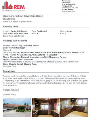 Governors Harbour House for Rental at Seven Mile Beach, Grand Cayman Islands
