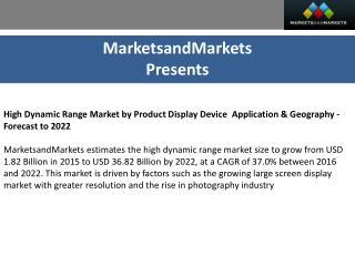 High Dynamic Range Market by Product - 2022 | MarketsandMarkets