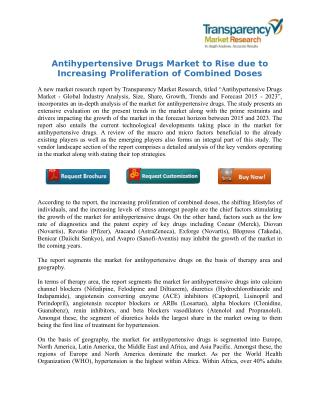 Antihypertensive Drugs Market to Rise due to Increasing Proliferation of Combined Doses