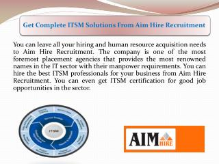 Get Complete ITSM Solutions From Aim Hire Recruitment