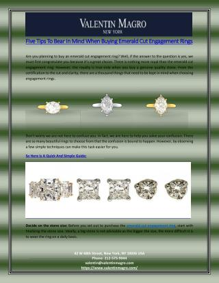 Five Tips To Bear In Mind When Buying Emerald Cut Engagement Rings