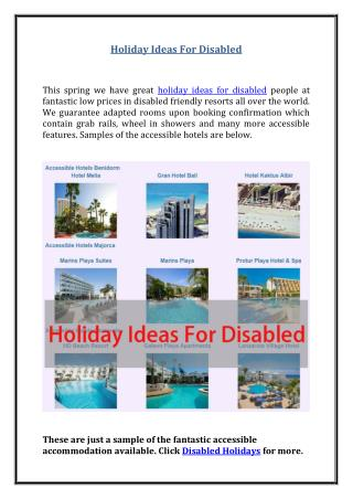 Holiday Ideas For Disabled