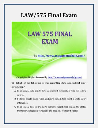 Law 575 Final Exam Latest Assignment