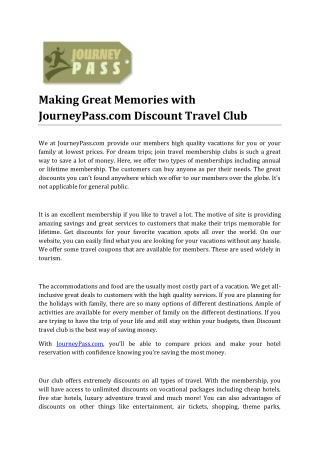 Making Great Memories with JourneyPass.com Discount Travel Club